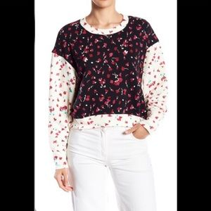 Joie Caleigh Floral Print Cropped Sweater